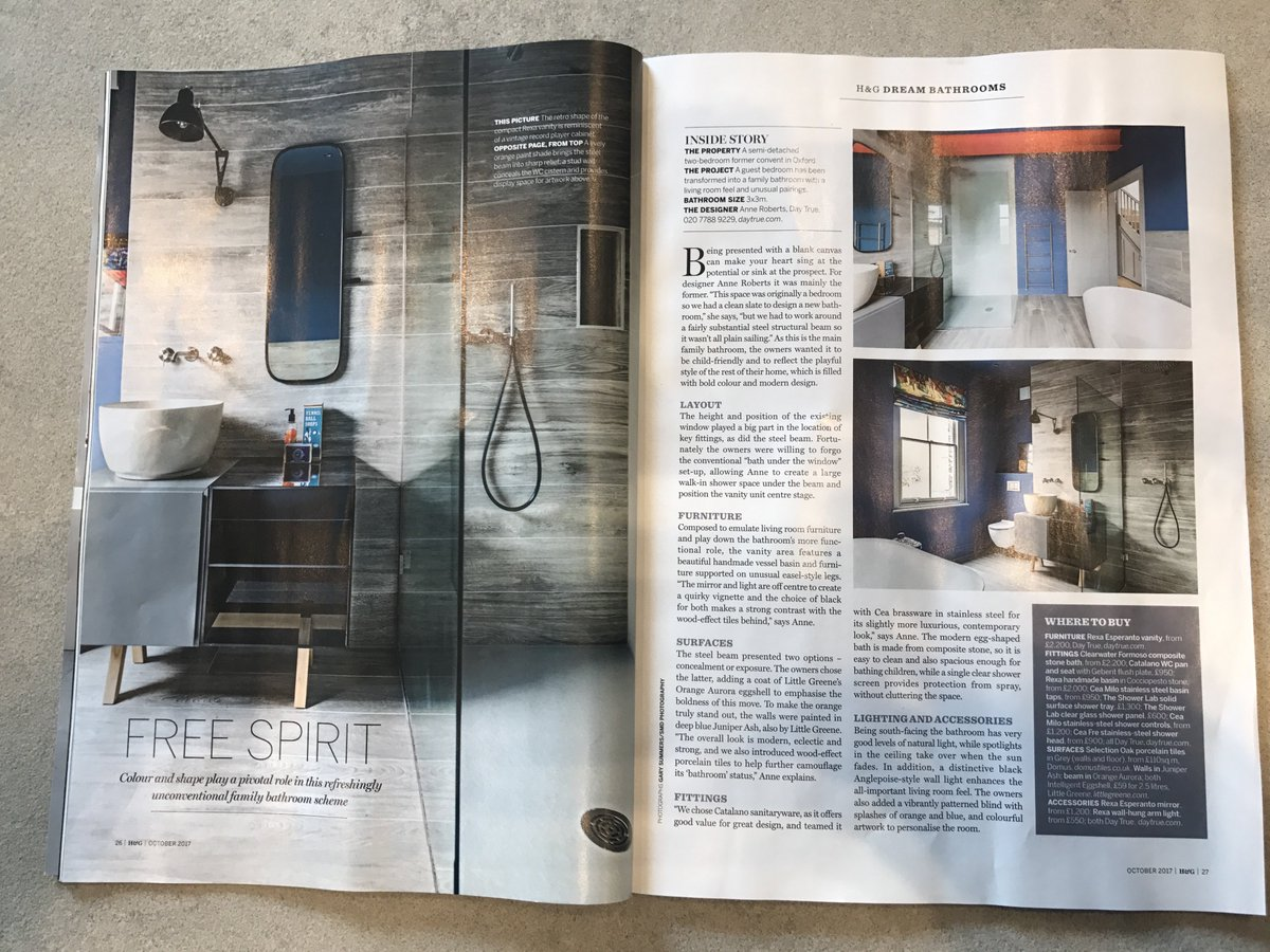 Our funky #bathroom ft in @homesandgardens. We worked with the beam, not against, by painting it red  Full project:  http:// bit.ly/2xTrRvh  &nbsp;  <br>http://pic.twitter.com/te5dKpHyqC