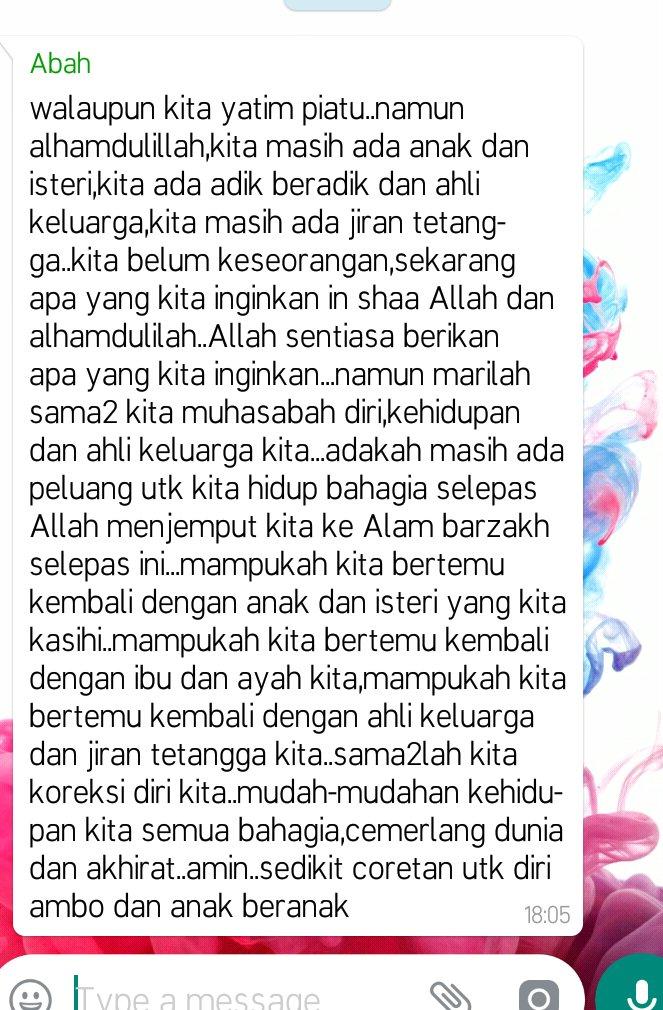 When abah send this short reminder on whatsapp group., macam2 main dlm fikiran.. Dhla lama x balik.  �������� https://t.co/aUbCKFIArx