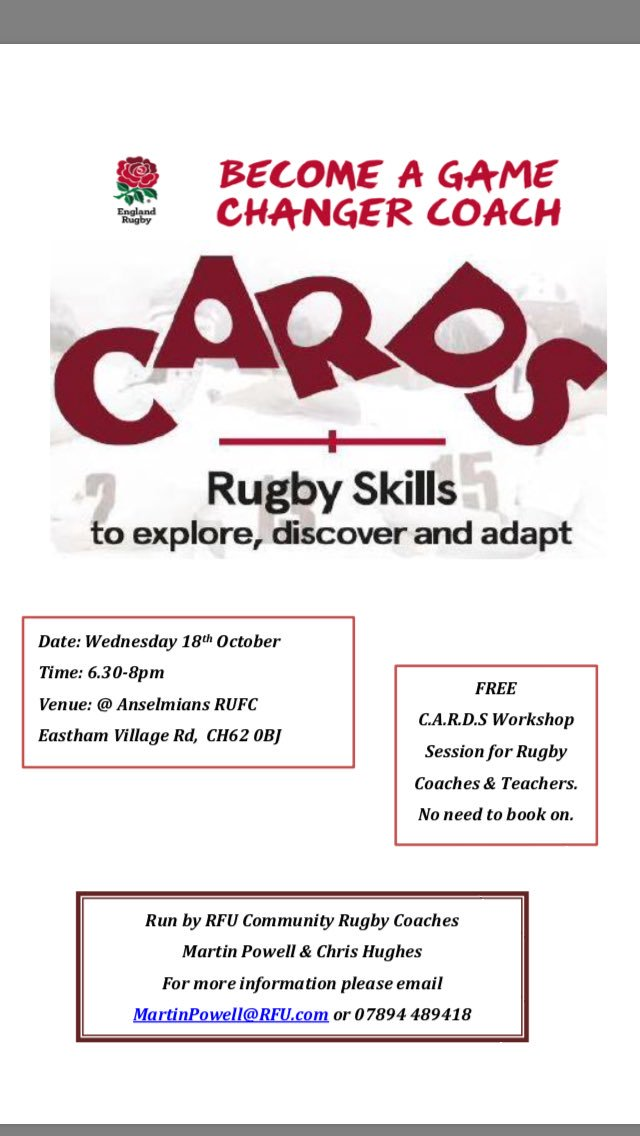 2 more #CARDS workshops booked in @Anselmians &amp; @WidnesRufc in October. Free for all  coaches &amp; teachers, no need to book on!<br>http://pic.twitter.com/qeXwrom5D8