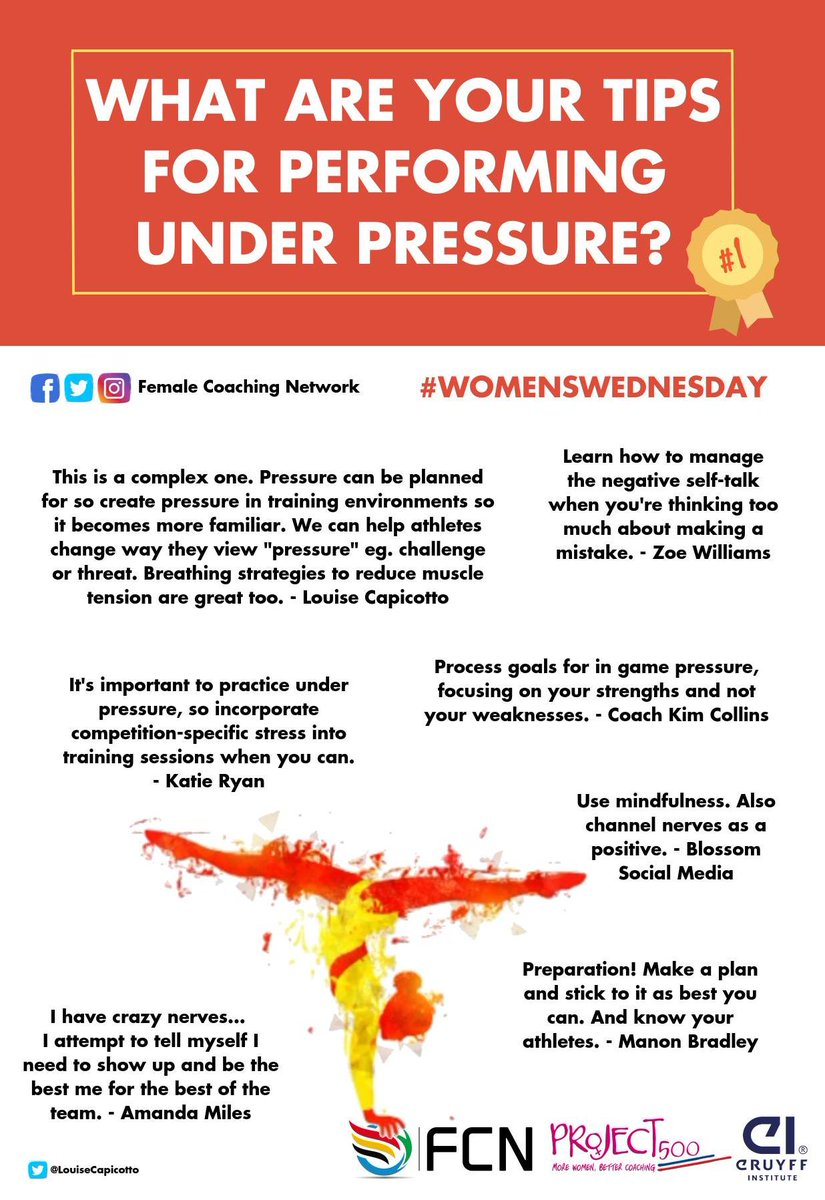 What are your tips for performing under pressure? @FemaleCN @femalecoaches @CruyffInstitute #womenswednesday #pressure #performance <br>http://pic.twitter.com/cc7Gyg633i