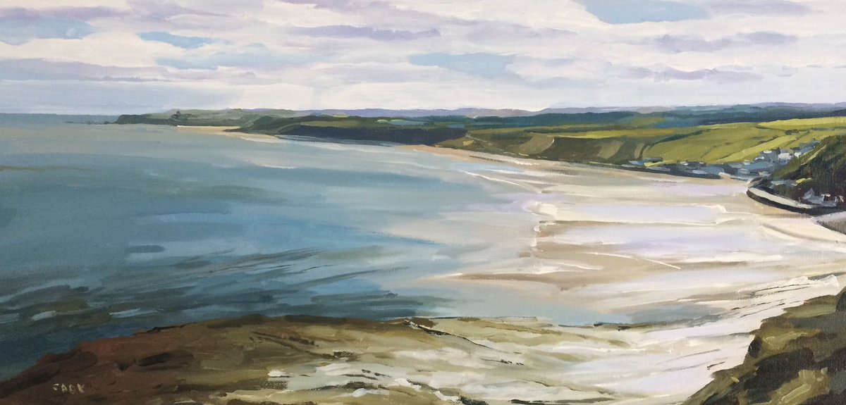 Low tide at Sandsend - looking down to Whitby. #art #painting #whitby #sandsend #northyorkshire <br>http://pic.twitter.com/qWtsvhBWbF