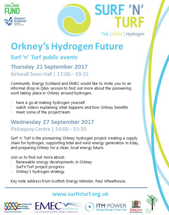 Come along to Surf &#39;n&#39; Turf&#39;s events to learn about Orkney&#39;s Hydrogen Future #Orkney #Hydrogen #RenewableEnergy #Cleanenergy<br>http://pic.twitter.com/ubOhgGI0Fk