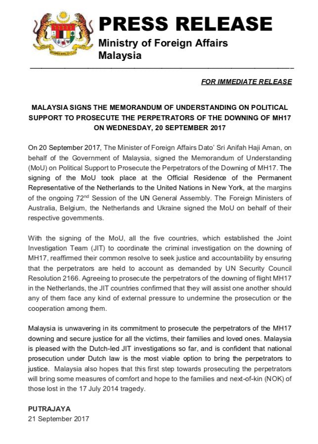 #MH17 Update: Malaysia signs MoU to prosecute those responsible for the downing of MH17 - #justice #downing #aviation #tragedy #prosecute<br>http://pic.twitter.com/oaBRmwID25