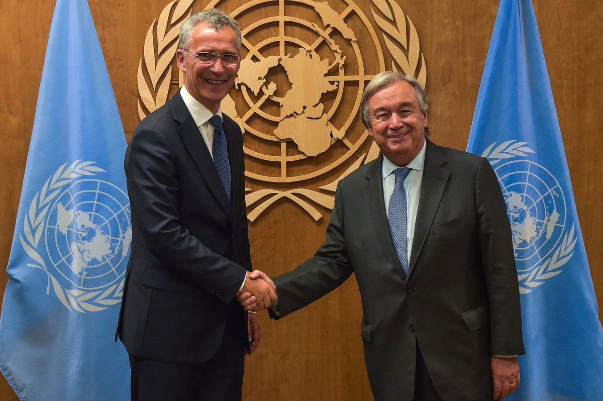 #NATO SG @jensstoltenberg met @UN SG at #UNGA2017, discussed how strong institutions can best develop the global solutions needed now<br>http://pic.twitter.com/T9x7Of4S3R