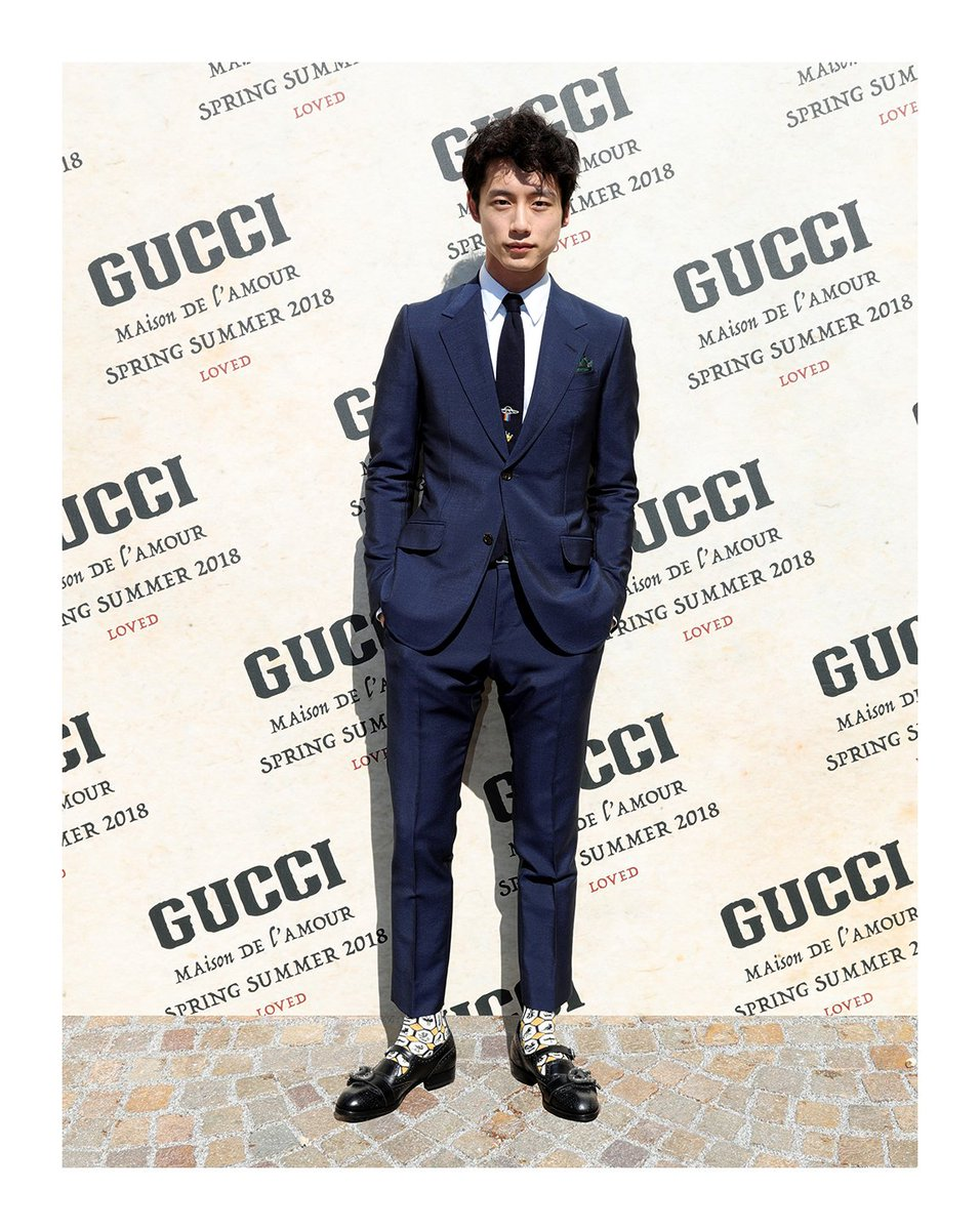 At the #GucciSS18 fashion show, @kentaro_s_711 in a #GucciDYI suit and brogue shoes. #mfw #AlessandroMichele