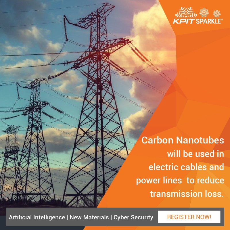 Carbon nanotubes in #electric cables can reduce energy losses in transmission. #KPITSparkle 2018  https:// goo.gl/YeHkN6  &nbsp;  <br>http://pic.twitter.com/RXYl1yvtb8