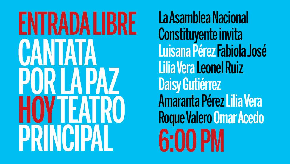🗒️🗣️#CogeDato || Hoy a las 6:00 pm en el Teatro Principal una Cantata...