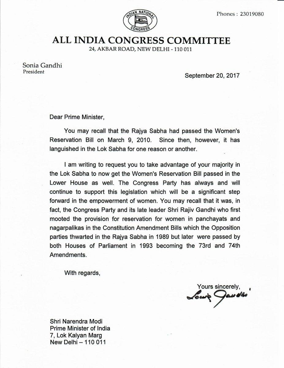 Congress President Smt. Sonia Gandhi has written to PM Narendra Modi on the passage of Women's Reservation Bill in Lok Sabha.