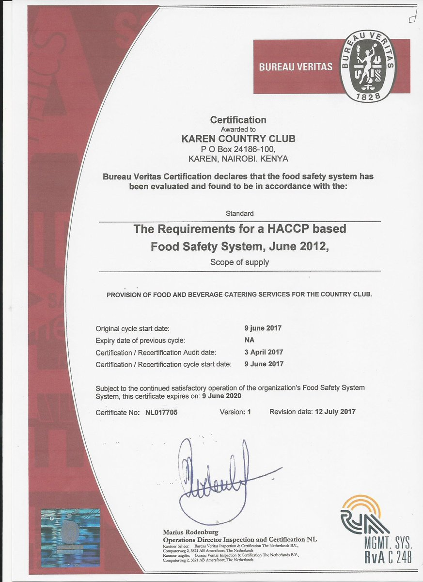 Caitlin joyce bureau veritas certification - It s official we are haccp certified we continuously strive to ensure safe food is served to our members keep it up teamkaren haccppic twitter com