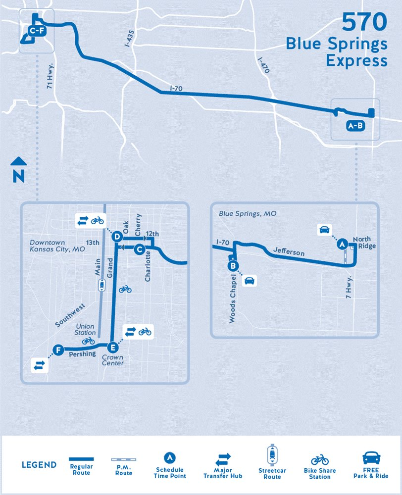 RideKC on Twitter 570 Blue Springs Express changes route reduced
