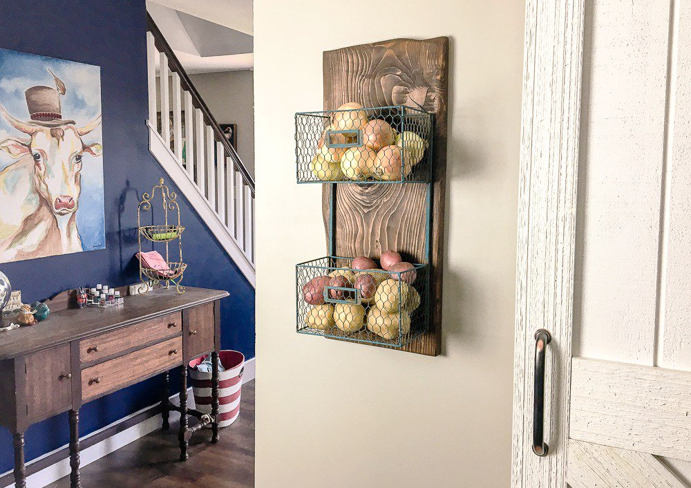 Scrap #wood and a metal basket from @HobbyLobby came together for a produce rack! Love!  http:// bit.ly/2xgGqp4  &nbsp;   #woodworking #DIY<br>http://pic.twitter.com/UHlVH9Vshj