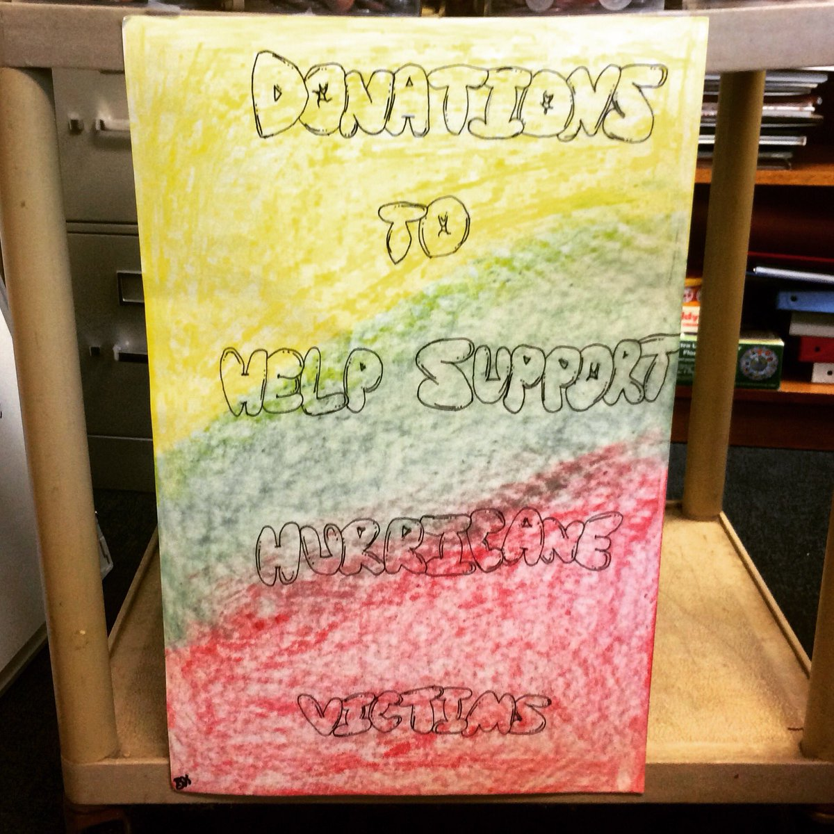 One of our very talented 8th graders created this sign to help WCS raise hurricane relief funds!   #helpothers #donate #wsdvt<br>http://pic.twitter.com/D1I21LaeEI