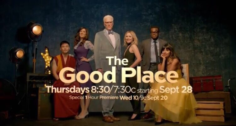 Hello U.K.! Our new comedy @nbcthegoodplace is available on @NetflixUK now. Season 1 just gets better and better and then season 2 is 🔥🔥🔥 x