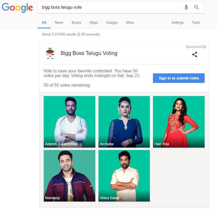 bigg boss telugu vote results this week