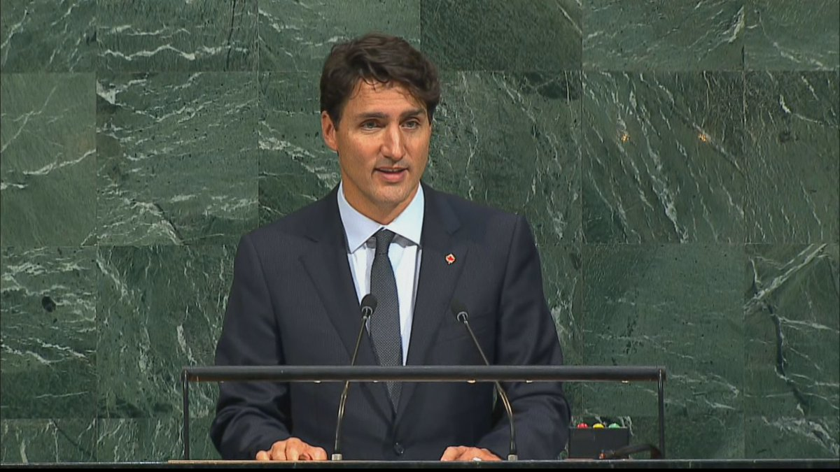 Trudeau ends by promising to listen, learn and work together for a better Canada and world. Confident it can be done #cdnpoli #UNGA.