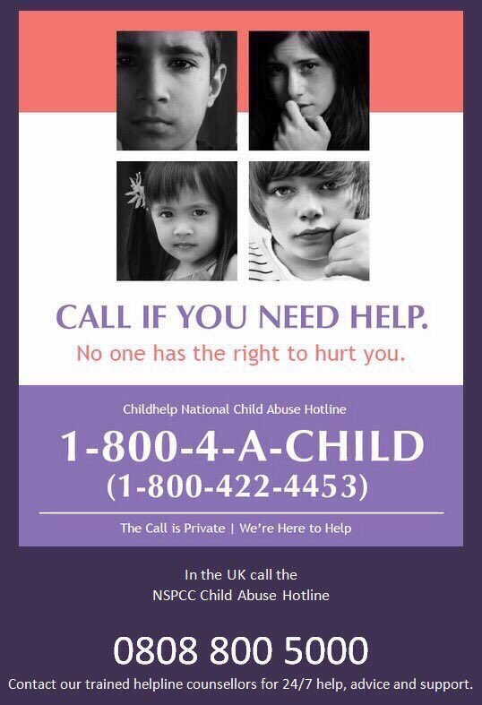If you know of or suspect child abuse...report it! #StopChildAbuse Call 1-800-4-A-Child ☞ https://t.co/01IPLF4VDI