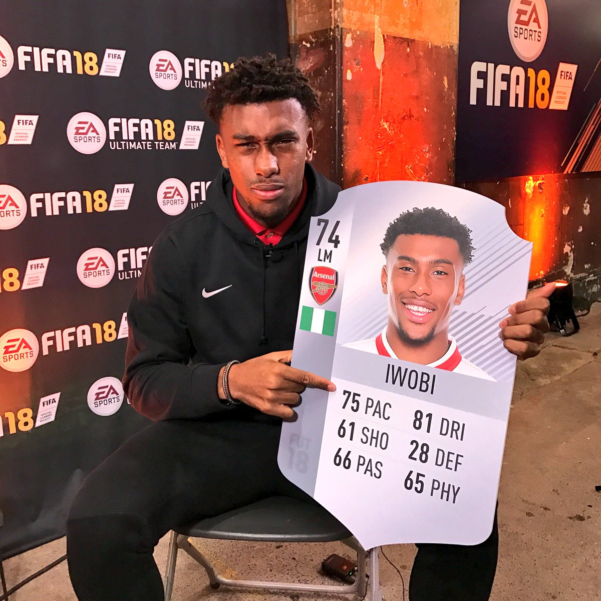 Alex Iwobi REALLY isn't happy with his FIFA 18 rating! 😡  What do you think he deserves? #FIFA18UKLAUNCH