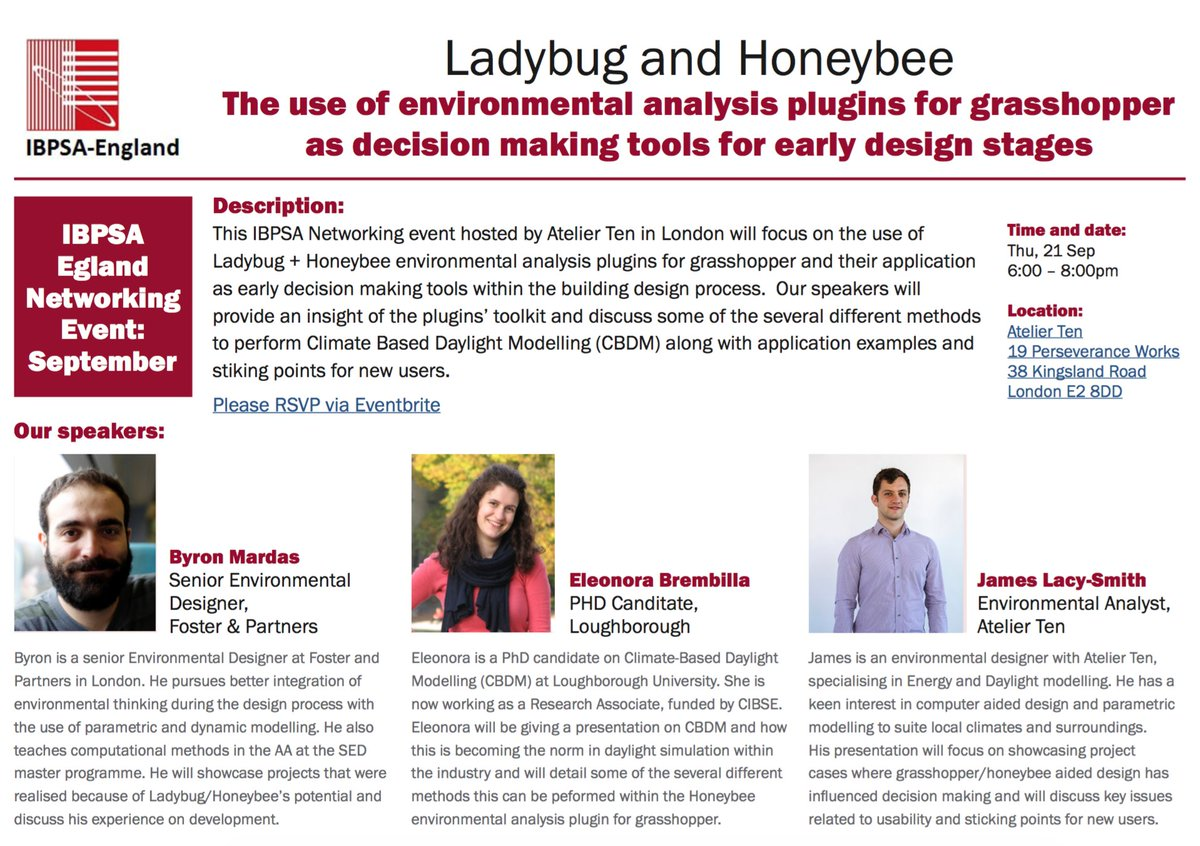 Looking forward to the @IBPSA-England Networking event @AtelierTen this evening! #Ladybug #Honeybee<br>http://pic.twitter.com/dXFrxyaAod