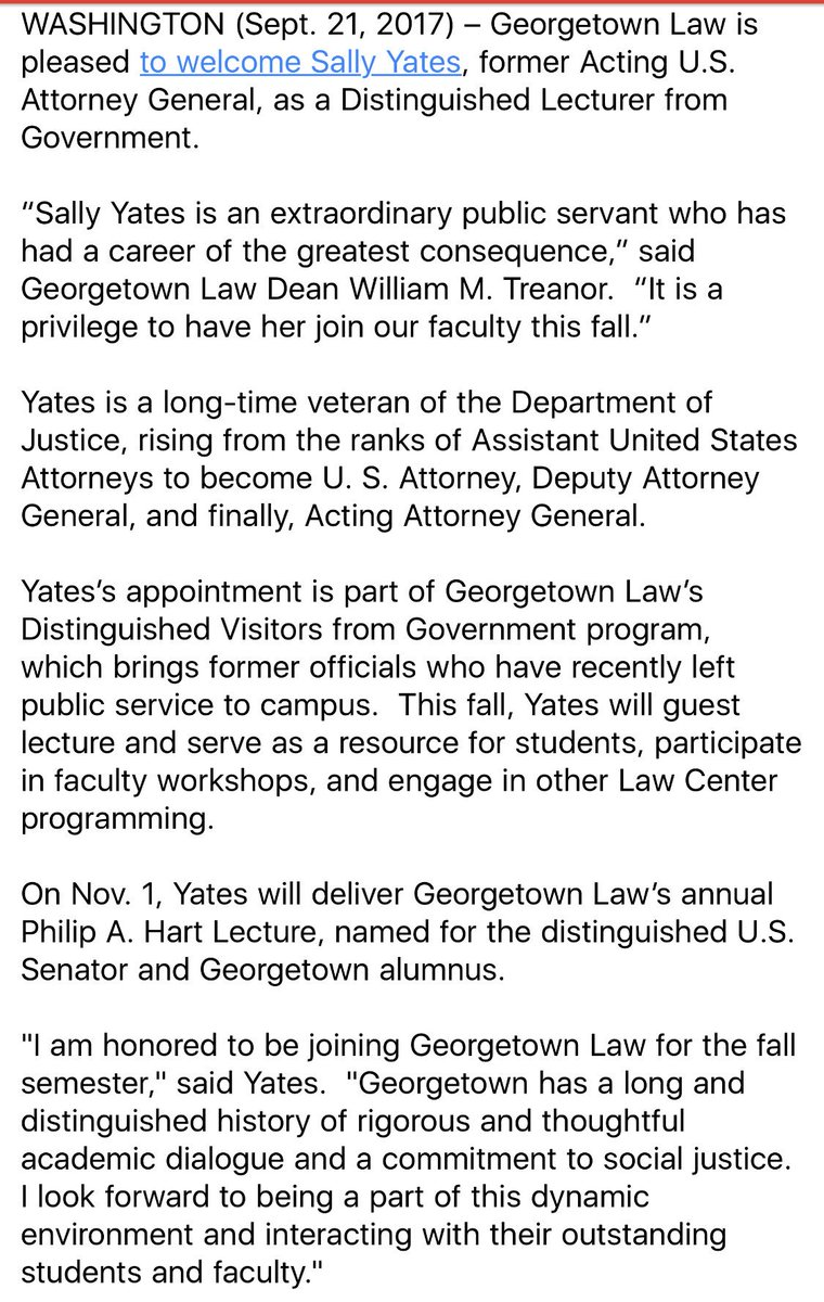 Sally Yates joining Georgetown Law this fall. https://t.co/ccVwPQtAeF