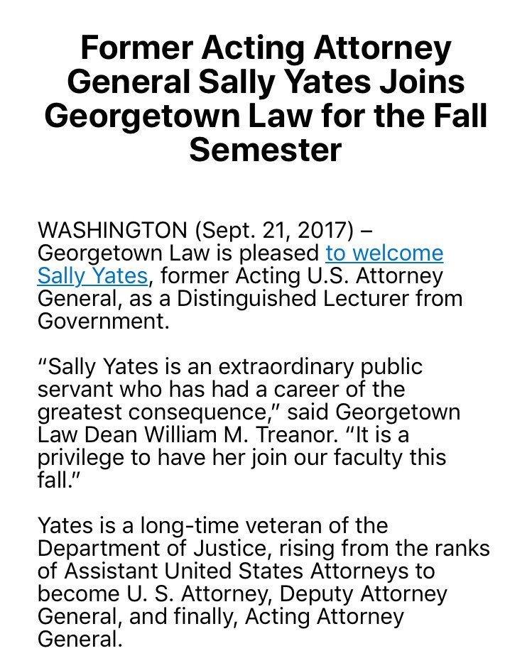 Sally Yates to lecture at Georgetown Law this fall. https://t.co/3O2Kd...