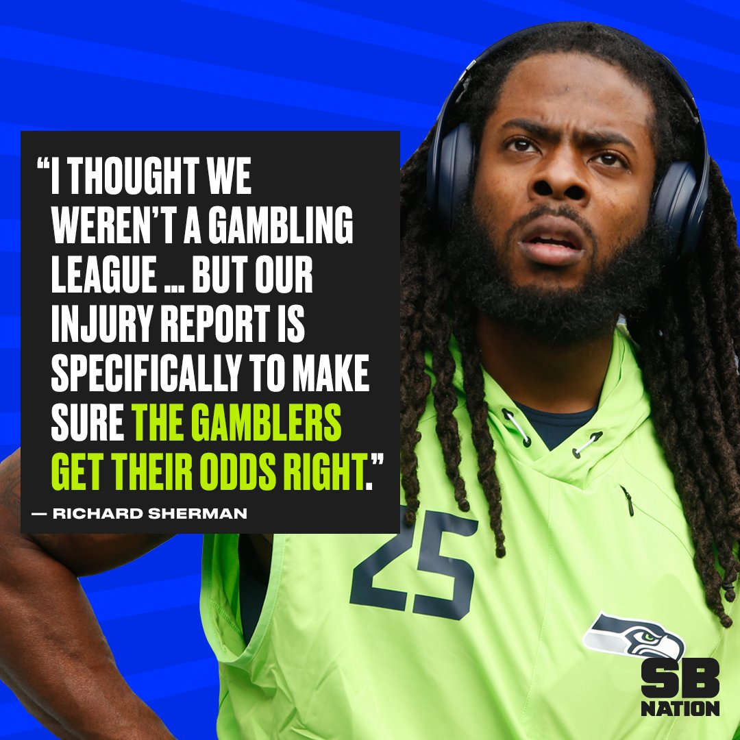 Richard Sherman is calling out the NFL's hypocrisy on gambling. https:...