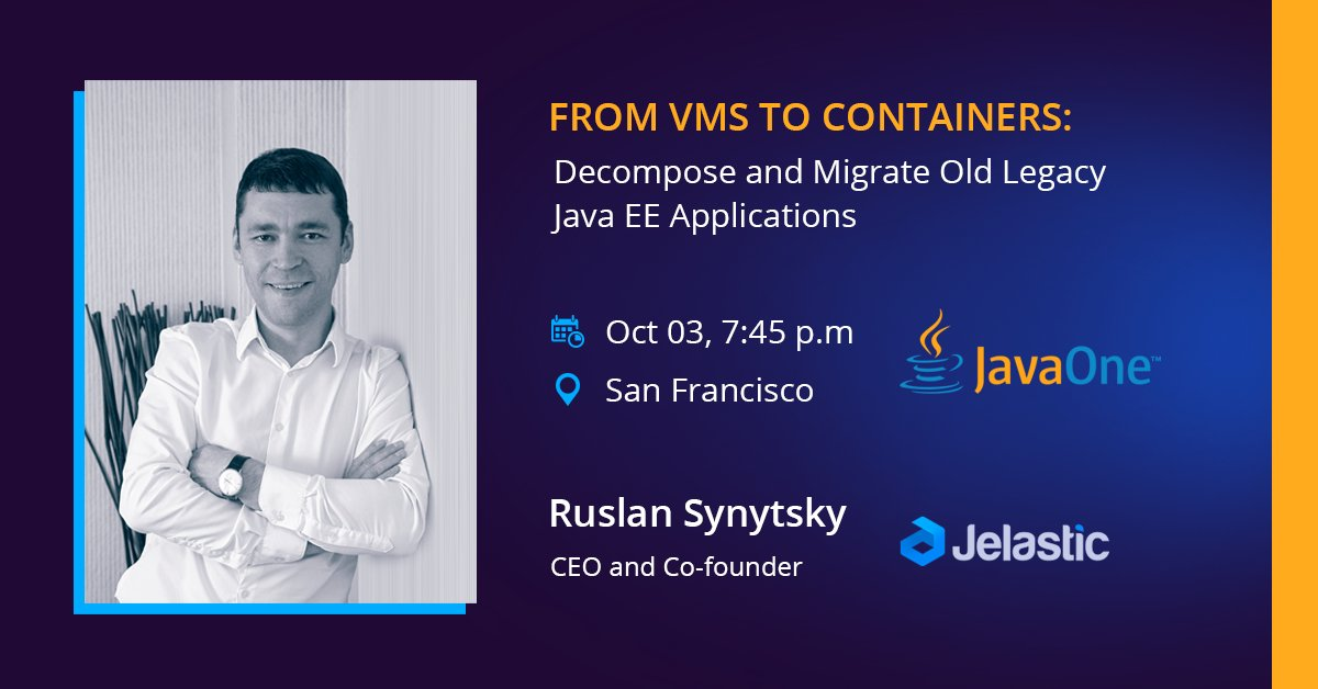 Decompose legacy #JavaEE apps &amp; migrate them easily to #containers: join @siruslan session  http:// bit.ly/2wJPOQE  &nbsp;   @javaee_guardian @JavaOne<br>http://pic.twitter.com/ANddtgNpUc