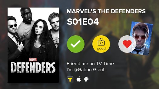 I've just watched episode S01E04 of Marvel's The Defenders! https://t....