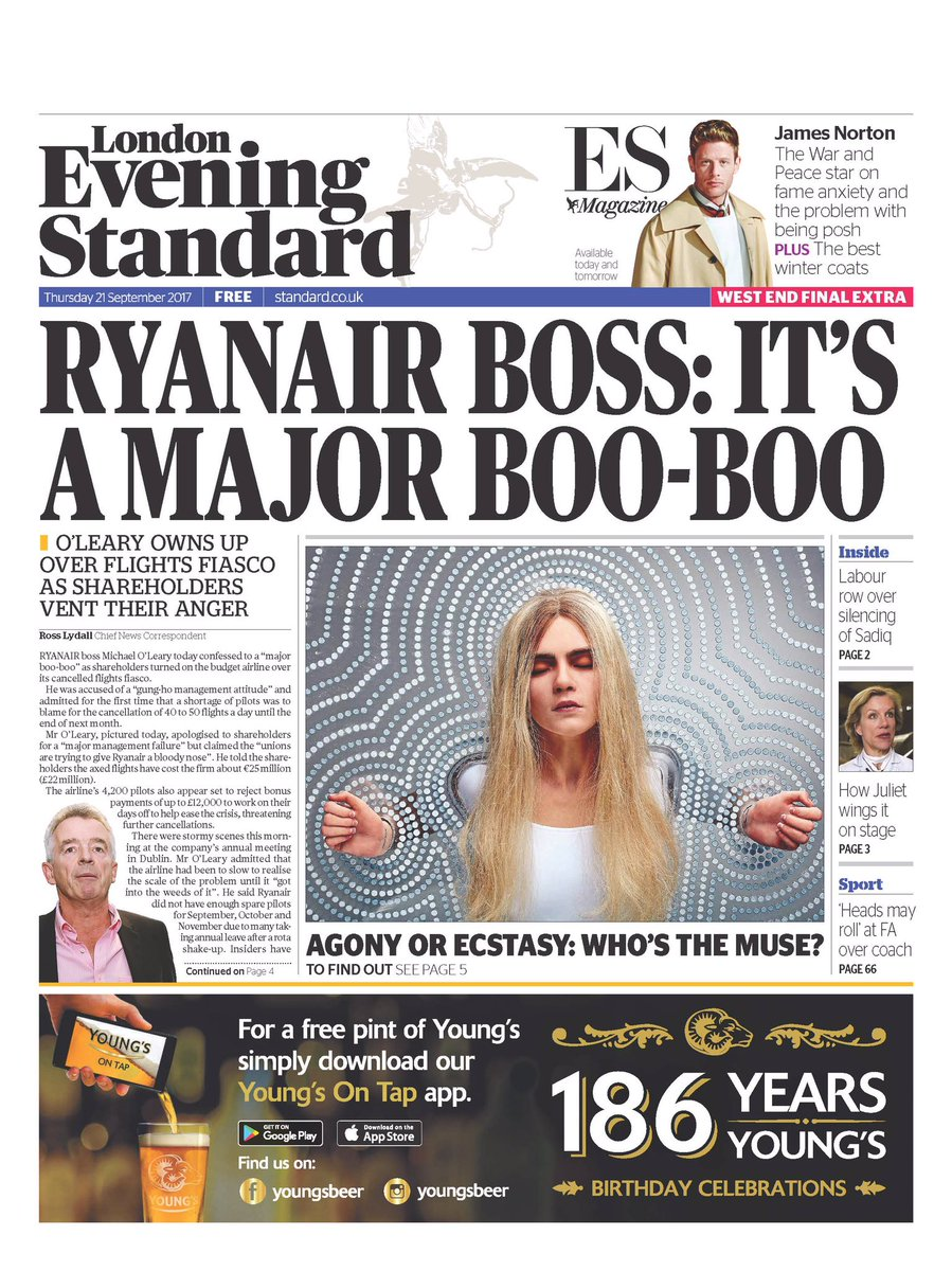 Our second edition @EveningStandard on RyanAir's candid admission http...