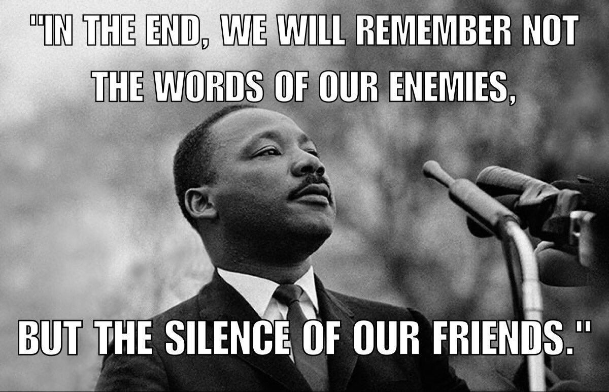 &quot;In the End we will Remember not the Words of our Enemies  but the Silence of our Friends.&quot;  Martin Luther King     #1u #Justice #UFCW8<br>http://pic.twitter.com/JEUXflGSRW