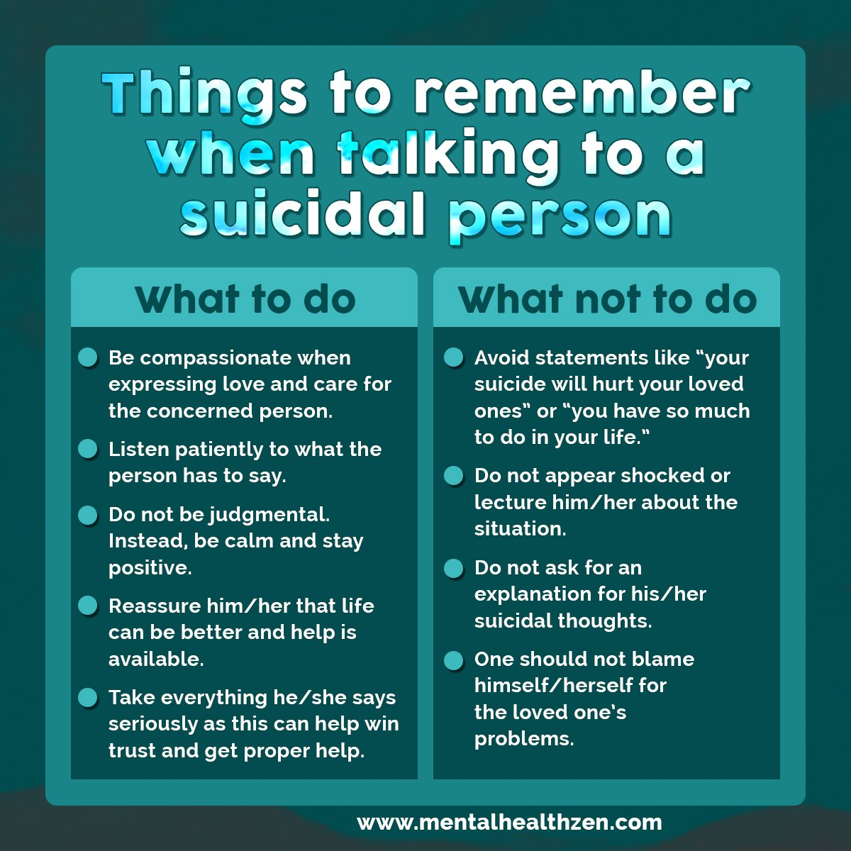 #Tips when talking to a #suicidal person. #PeaceDay #ThursdayThoughts #WorldGratitudeDay #Mentalhealth @DrDeniseMD @APA #Mentalhealth @WebMD<br>http://pic.twitter.com/L5hs0buFPi