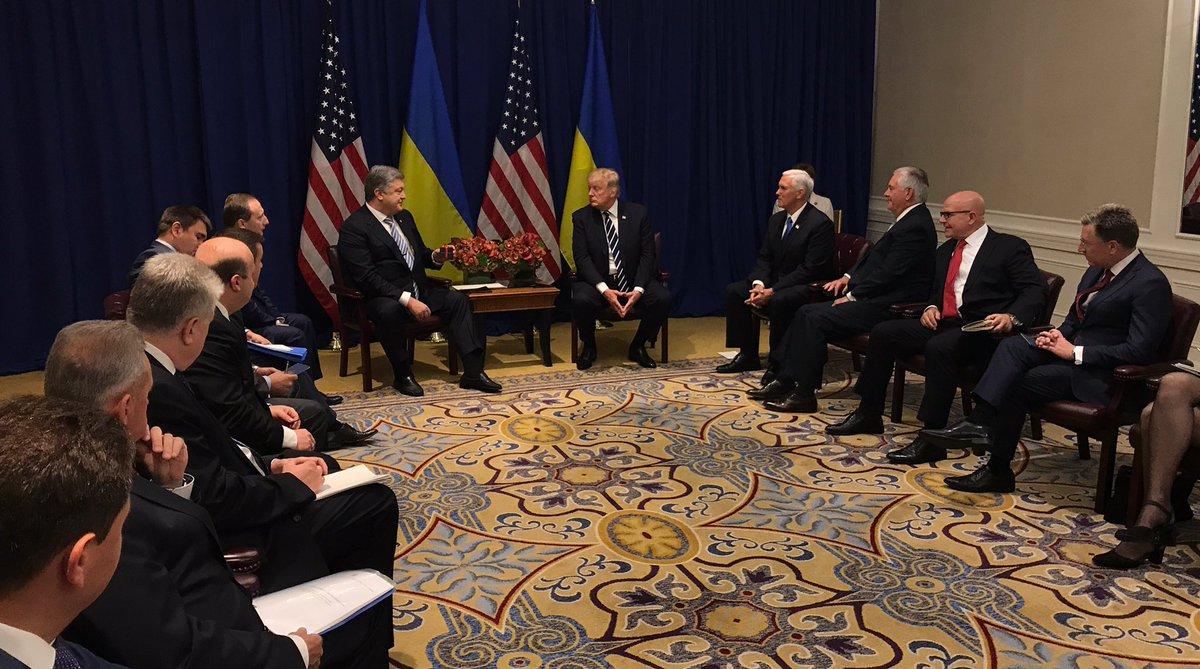 Президент Украины Петр Порошенко встретился с президентом США Дональдом Трампом в Нью-Йорке
