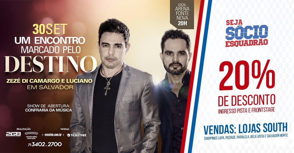 🔵🔴⚪️ Na próxima semana, a Arena Fonte Nova receberá o show da dupla @zcloficial e o Sócio Esquadrão também terá desconto #BBMP