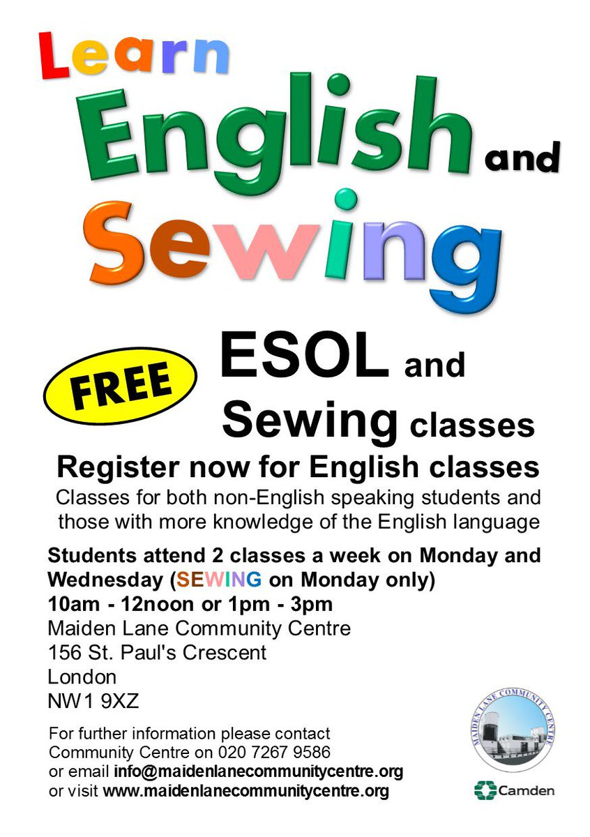 #free #learn #English classes #esol #sewing-classes(Mon only) @MLCCamden on Mon &amp; Wed 10am - 12noon or 1pm - 3pm<br>http://pic.twitter.com/XCQwmthgxN