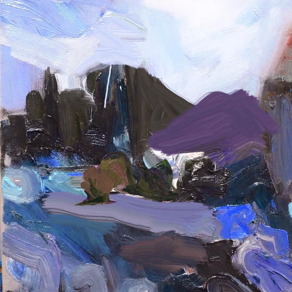 """evening falls at the quarry"" 40X40 #modernart #evening #quarry<br>http://pic.twitter.com/kJpVDhUOyl"