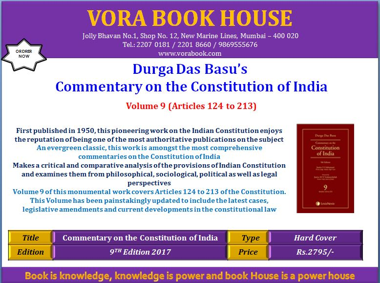 Title - Durga Das Basu&#39;s Commentary on the #Constitution of India Price - Rs.2795/-  #vorabookhouse#books #law  #india #commentary<br>http://pic.twitter.com/fBaGxng2te