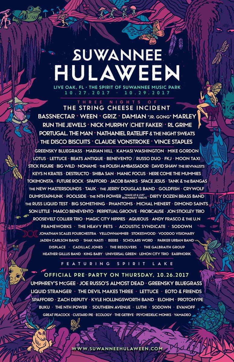 "Suwannee Hulaween Scares Up 2nd Round of Artists:  Damian ""Jr. Gong"" Marley, Lotus, Noname  http:// mfw.rocks/2jNXyQt  &nbsp;   @HulaweenFL #LiveOak #FL<br>http://pic.twitter.com/qcSCS9EHah"