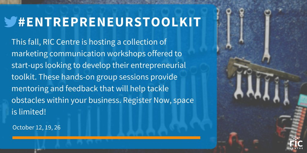 Looking to expand your marketing communications strategy? Register now for @RICCentre&#39;s upcoming #Toolkit #Workshop.  https://www. eventbrite.ca/e/ric-centre-m arketing-and-communications-toolkit-on-october-12-19-and-26-2017-tickets-30588111866 &nbsp; … <br>http://pic.twitter.com/akvbj4kIad