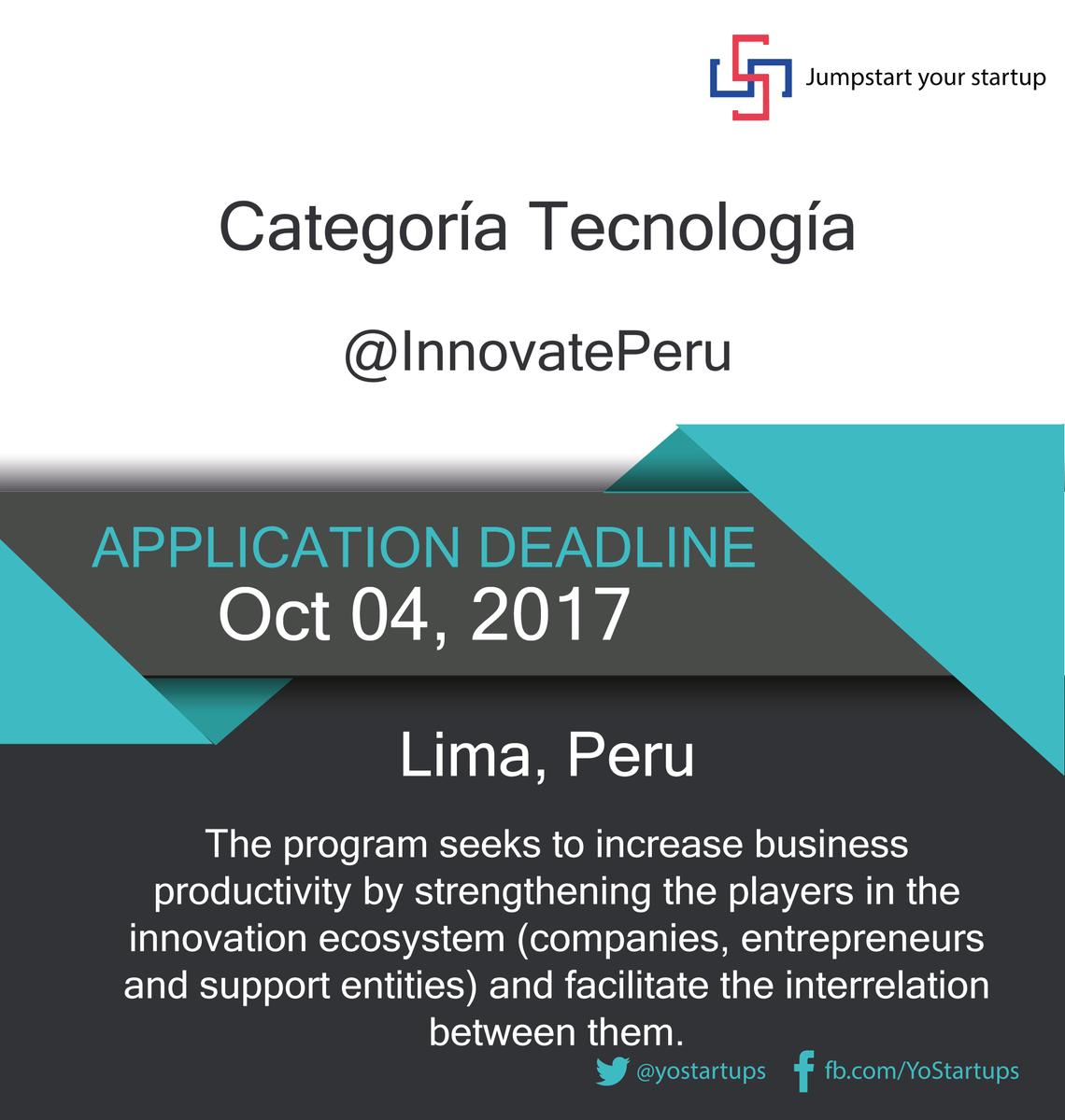 Checkout @InnovatePeru #accelerator program in #Peru strengthening the startup ecosystem  https:// goo.gl/hs9EQK  &nbsp;  <br>http://pic.twitter.com/a4Uw5HWwAV