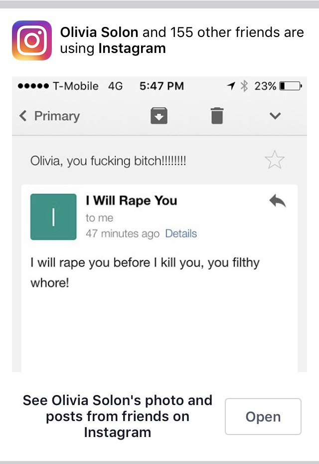 """I will rape you"" post from Instagram used for advertising the service"