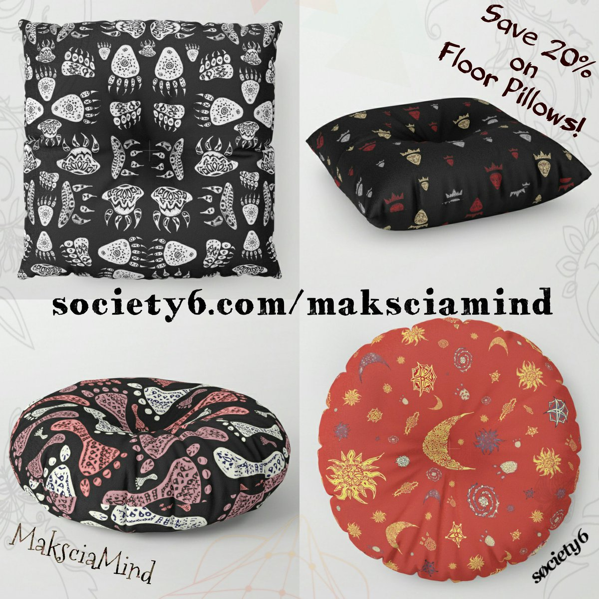 Save 20% on Floor Pillows - Decor your Home with #maksciamind -》 https:// society6.com/maksciamind/fl oor-pillows &nbsp; …   @society6 @Society6max #decorideas #pattern #prints <br>http://pic.twitter.com/TrAZo3MZfs