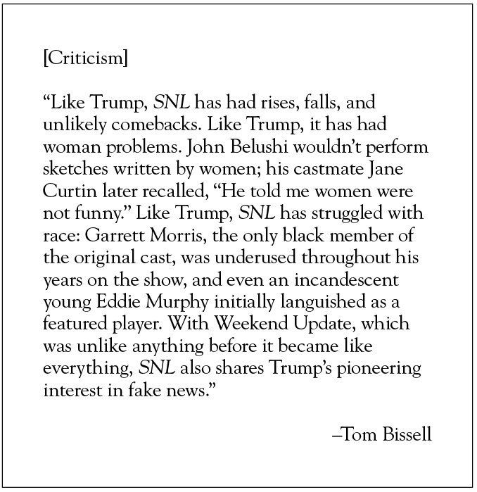 From Tom Bissell's new essay on the tragicomedy of Donald Trump on SNL  https://t.co/domRr438jD