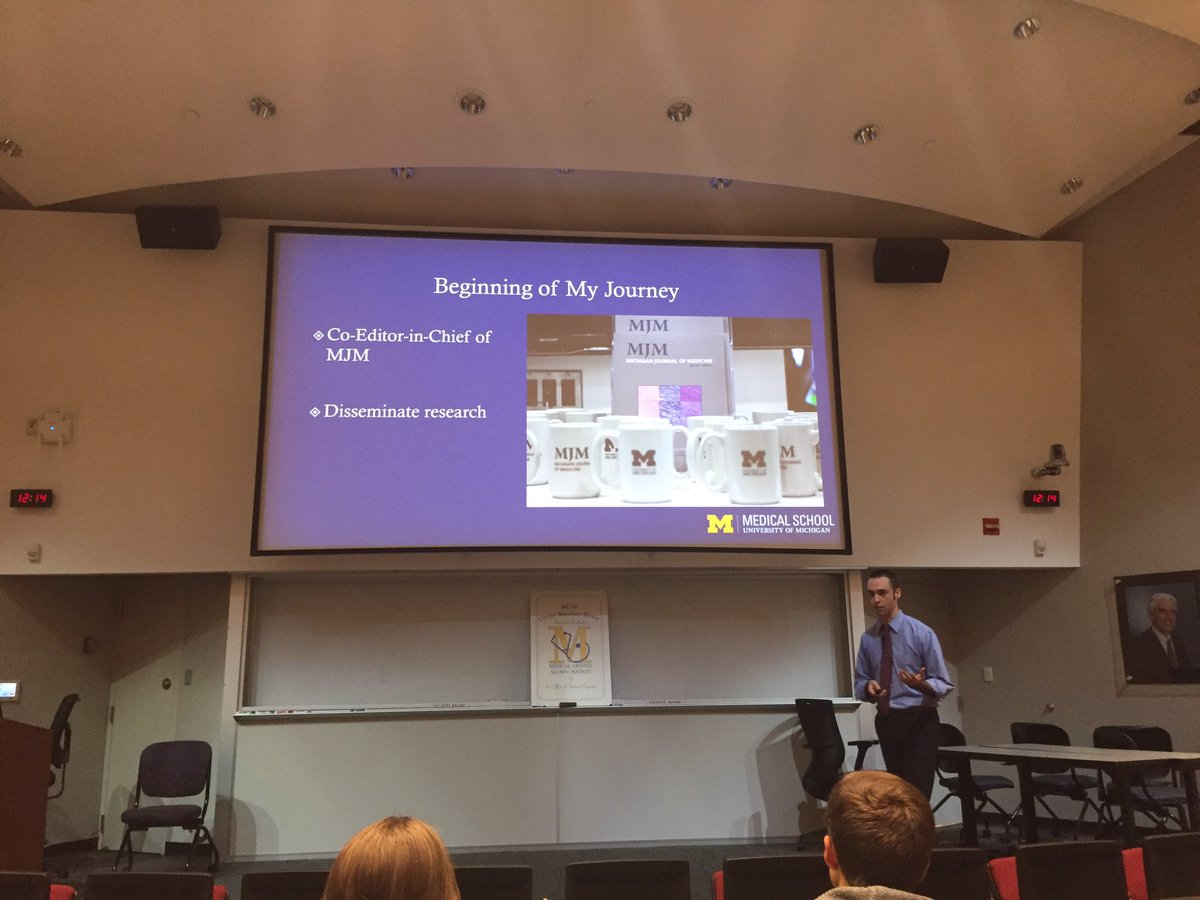 .@joseph_linzey giving @UMichMedAdmiss med student grand rounds RE his experience with social media in #MedEd <br>http://pic.twitter.com/TbgyYN0eIR