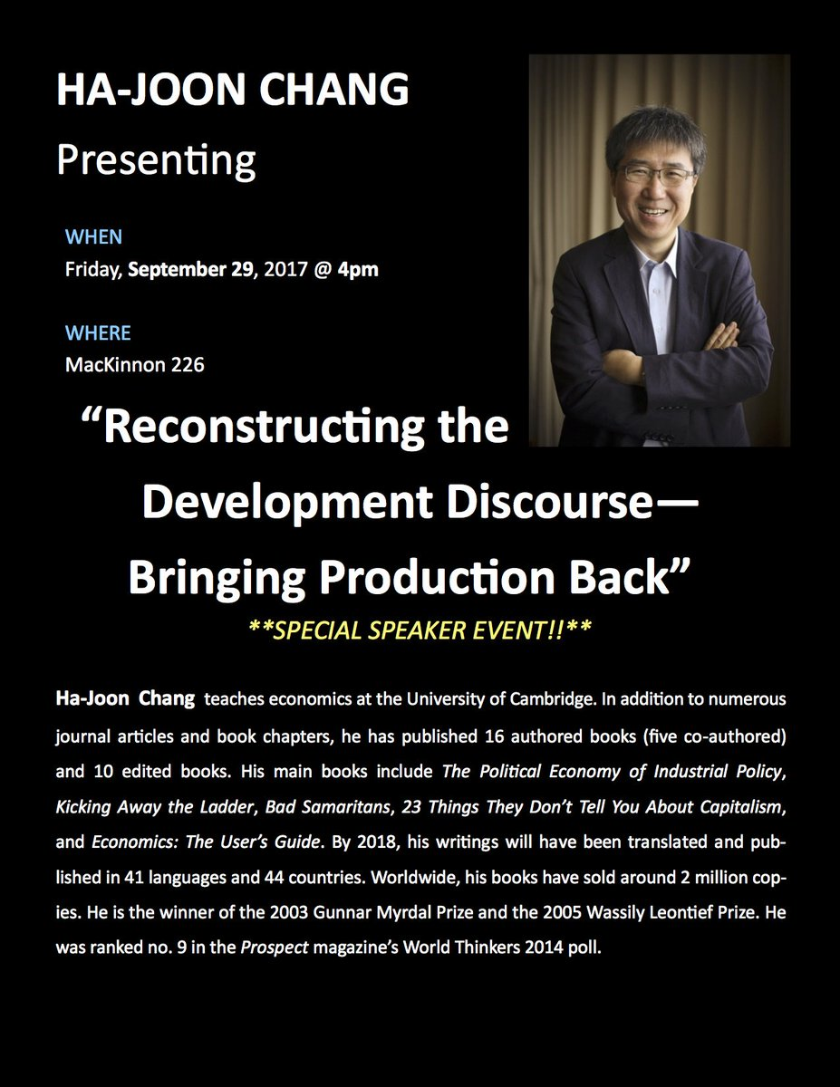 Next Friday *Ha-Joon Chang* will be @IDSGuelph: &#39;Reconstructing the #development discourse - bringing production back in&quot; #globaldev <br>http://pic.twitter.com/v5Z6F9M4GJ