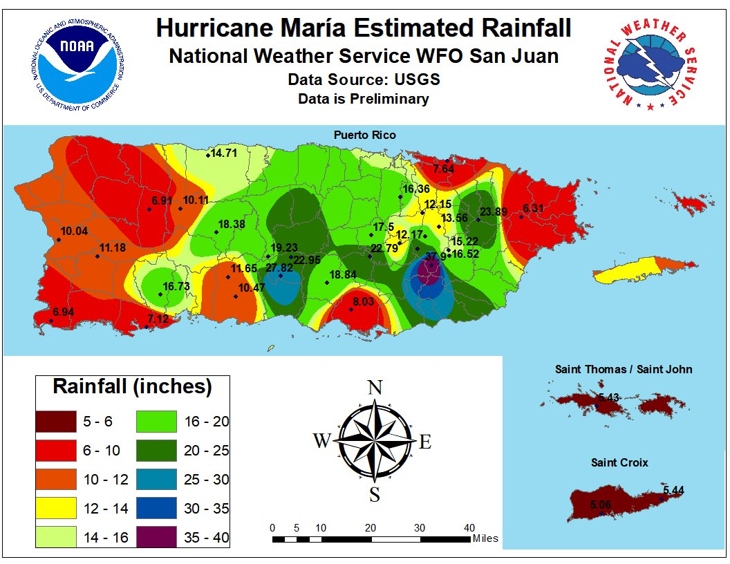 Preliminary Puerto Rico Rainfall Totals