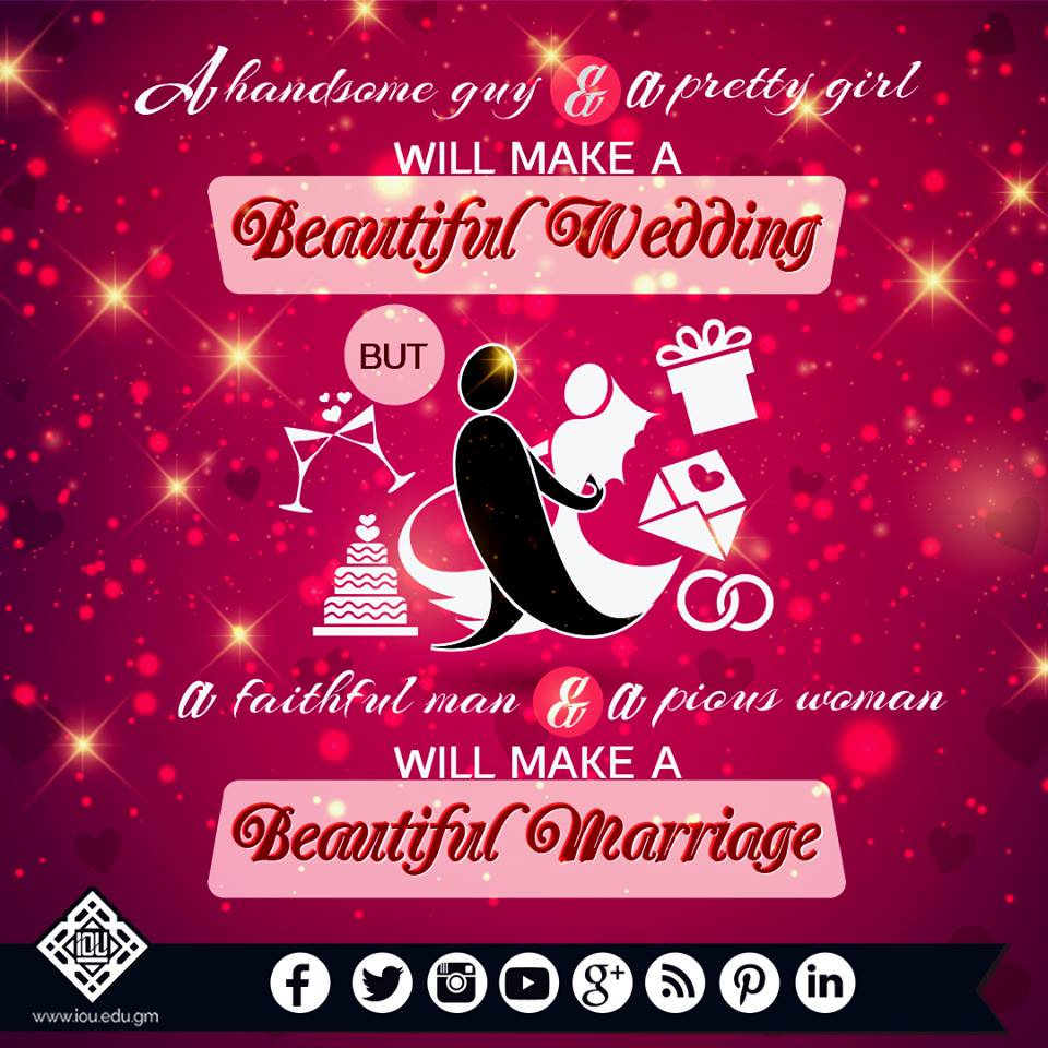 A handsome guy and a pretty girl will make a beautiful wedding; but a faithful man and a pious #woman will make a beautiful #marriage.<br>http://pic.twitter.com/Twv3tgguJo
