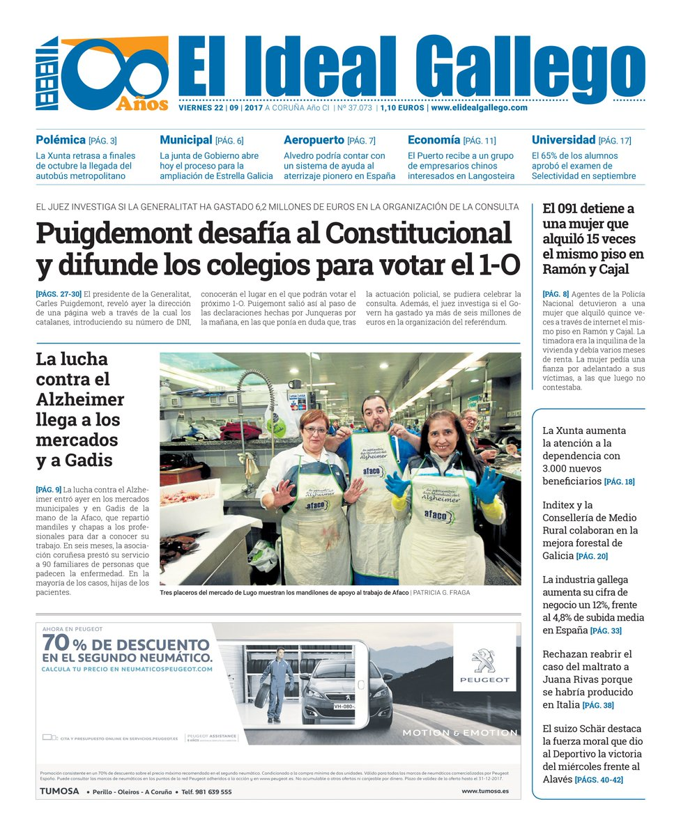 El Ideal Gallego On Twitter Portada Del Viernes 22 De Septiembre