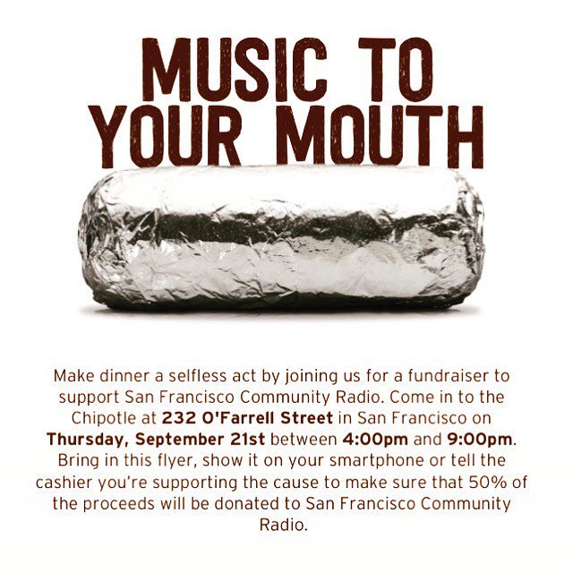 #Tonight 4-9pm celebrate #Eating and #CommunityRadio @Chipotletweets 232 O&#39;Farrell, SF Make sure you mention you are there to support #SFCR<br>http://pic.twitter.com/k5WUHr4Lxk