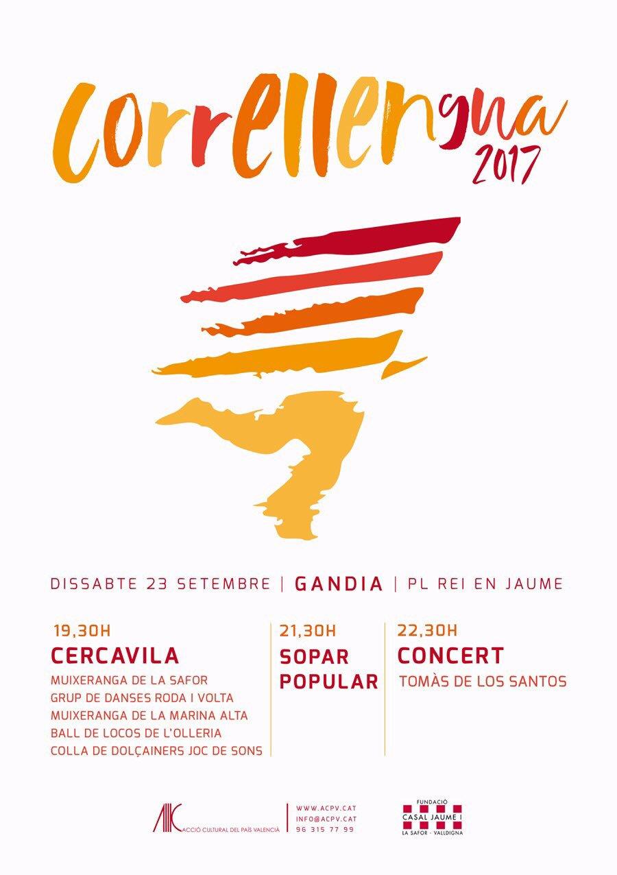 La flama de la llengua ompli els carrers de #Gandia de festa, música, dansa, muixerangues i reivindicacions #Correllengua2017 pic.twitter.com/rz4iLBOsR1 — Casal de Gandia (@casalsafor) 23 de setembre...