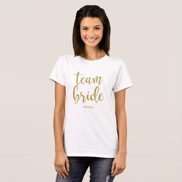 Team Bride Gold Glitter T-Shirt #Wedding #BridalShower #Bachelorette #Tees #Shirts #TShirt  http:// bit.ly/2uuwN3T  &nbsp;  <br>http://pic.twitter.com/ki7qYnmjFI