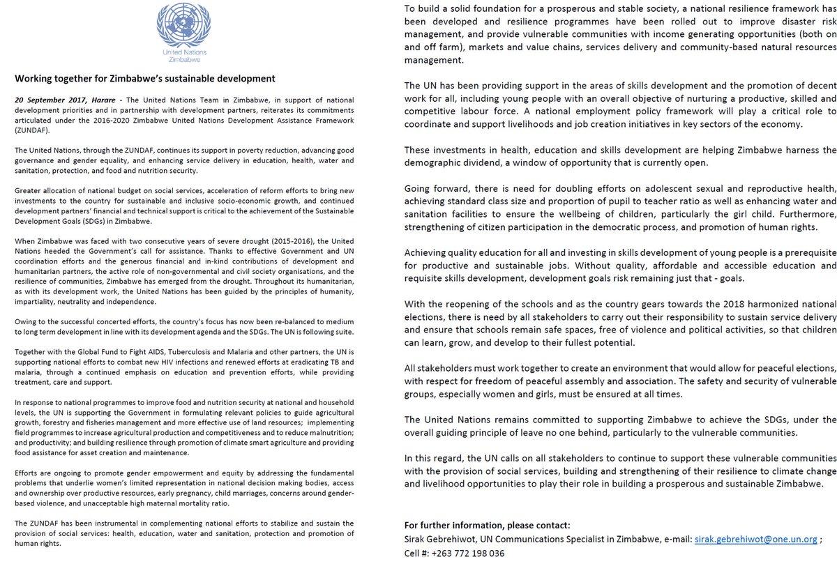 UN Zimbabwe on Twitter: